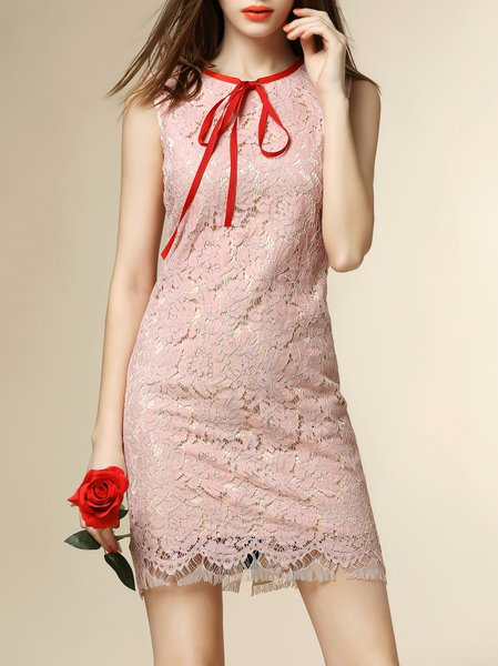 Pink Sheath Casual Crew Neck Mini Dress