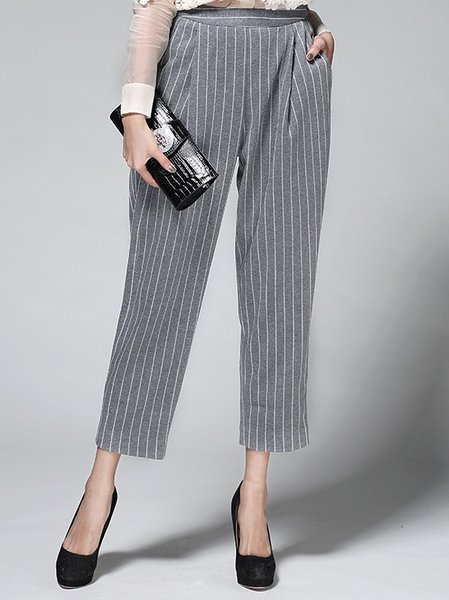 Gray Stripes Printed Casual Straight Leg Pants