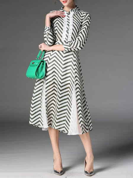 Green Stripes Elegant Printed V Neck Midi Dress