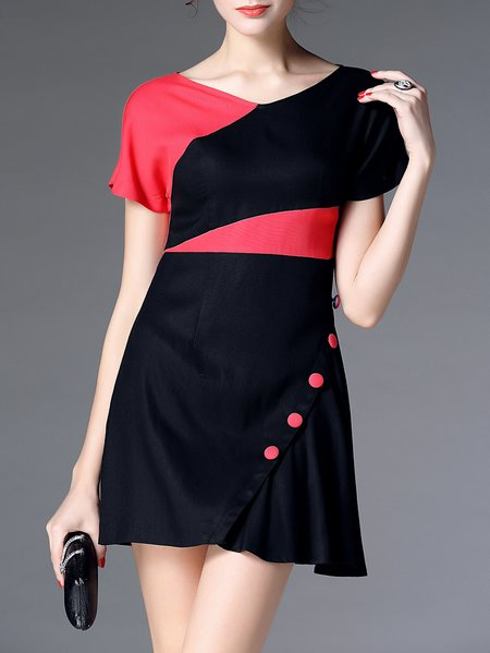 Black Appliqued V Neck Casual Mini Dress