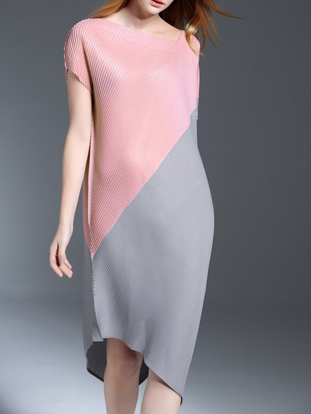 Pink Short Sleeve Ribbed Asymmetrical V Neck Midi Dress