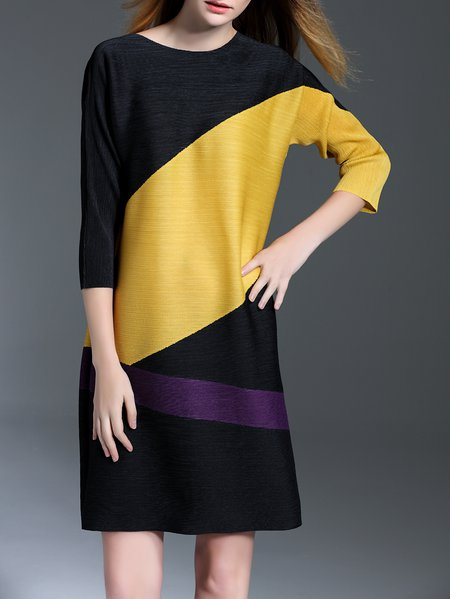 Yellow Ribbed Crew Neck Casual Polyester Mini Dress