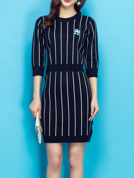 Black Stripes Casual Sheath Midi Dress