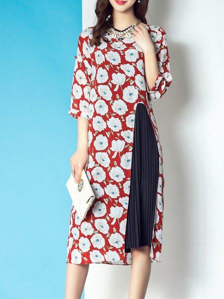 Multicolor Half Sleeve Floral-print Midi Dress