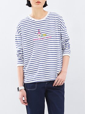 Blue Printed Long Sleeve Cotton Long Sleeved Top