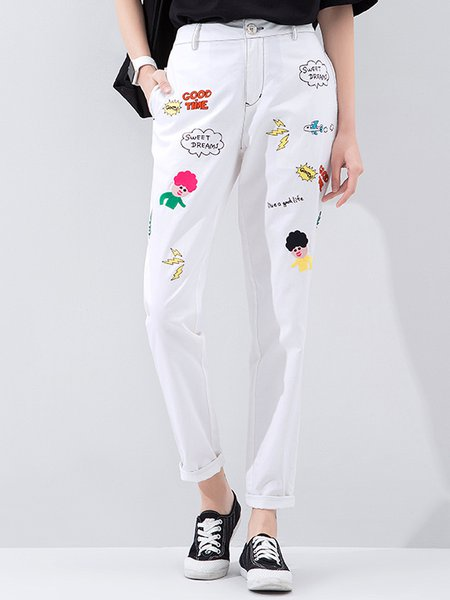 White Cotton Casual Embroidered Straight Leg Pants