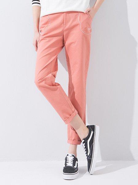 Pink Casual Plain Cotton Pockets Straight Leg Pants