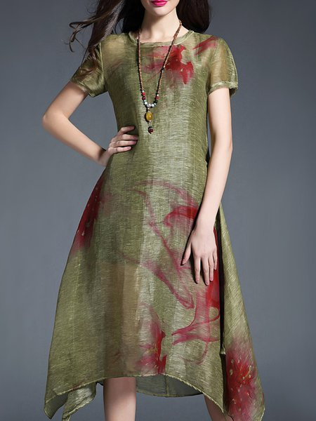 Green Casual Floral Silk Midi Dress