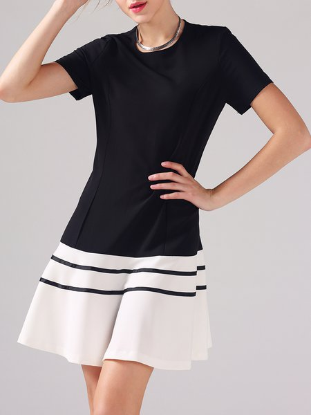 Black Short Sleeve Crew Neck Polyester Mini Dress