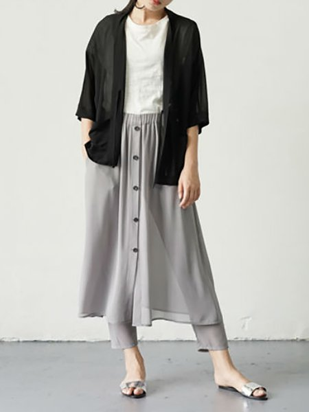 Gray Buttoned Casual Plain Midi Skirt