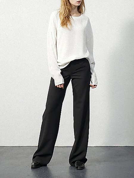 Black Pockets Plain Casual Polyester Straight Leg Pants