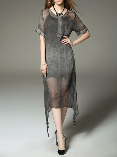 Gray Casual Silk Paneled Two Piece Midi Dress