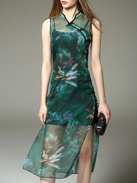 Green Slit Vintage Stand Collar H-line Midi Dress