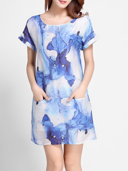 Blue Short Sleeve Abstract Pockets Mini Dress