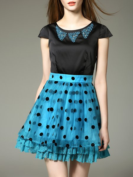 Girly Crew Neck Short Sleeve Polka Dots Beaded Mini Dress
