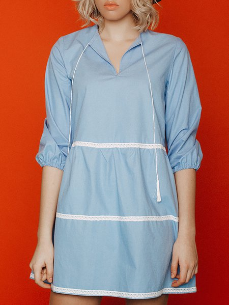 Blue H-line Cotton Long Sleeve Plain Mini Dress