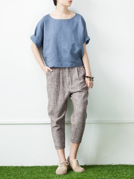Coffee Casual Linen Wide Leg Pants