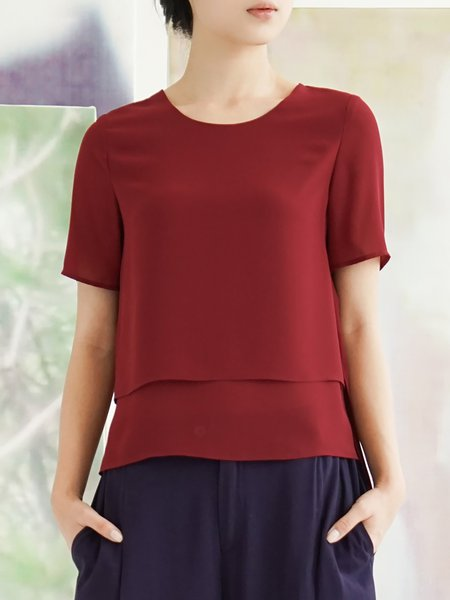 Red Casual Plain Short Sleeved Top