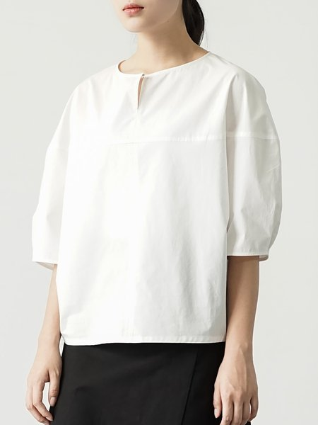 White Casual Cotton Plain Crew Neck Blouse