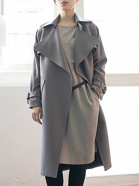 Gray Long Sleeve Plain Trench Coat