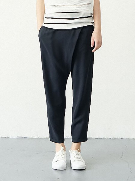 Navy Blue Casual Pockets Straight Leg Pants