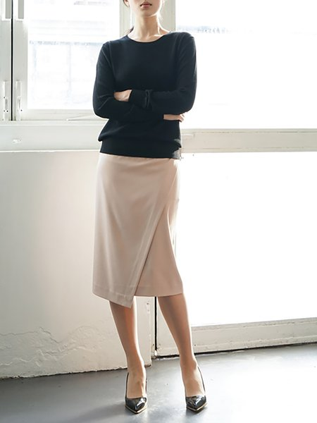 Apricot Asymmetric Casual Polyester Midi Skirt