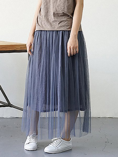 Blue Plain A-line Casual Maxi Skirt