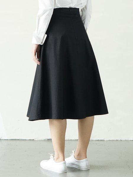 Black Casual Cotton Midi Skirt - StyleWe.com