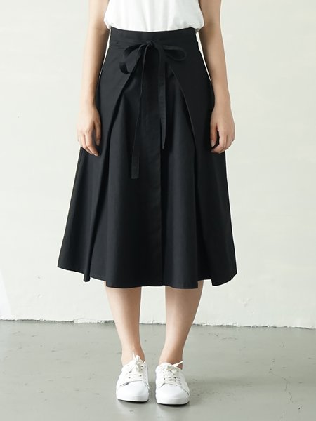 Black Casual Cotton Midi Skirt