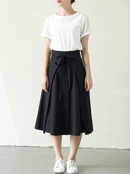 Black Casual Cotton Midi Skirt - StyleWe.com