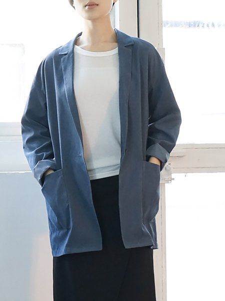 Long Sleeve Polyester Casual Blazer