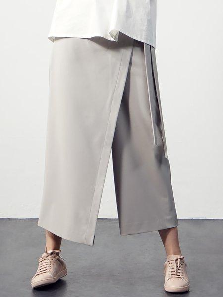 Gray Asymmetric Casual Wide Leg Pants