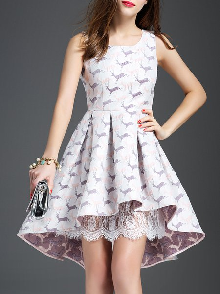 Pink Square Neck High Low Casual Mini Dress