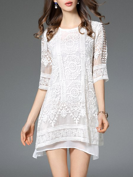 White 3/4 Sleeve Cotton-blend Mini Dress