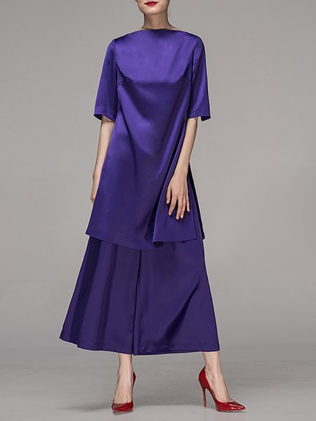 Purple Half Sleeve Bateau/boat Neck Tunic