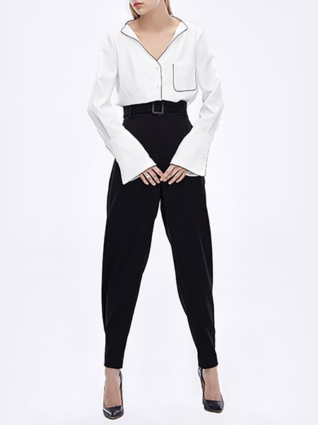 Black Pockets Work Polyester Straight Leg Pants