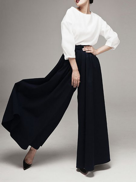 Black Polyester Pleated Plain Casual Wide Leg Pants