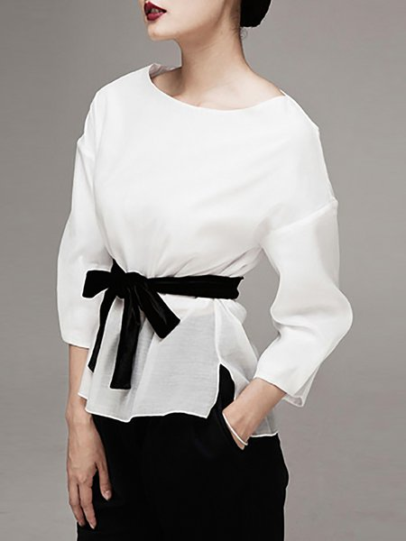 White Plain Asymmetric  Blouse with Belt