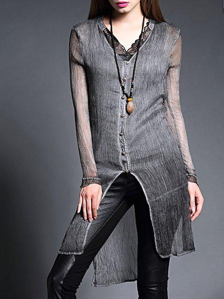 Gray Long Sleeve V Neck Coat