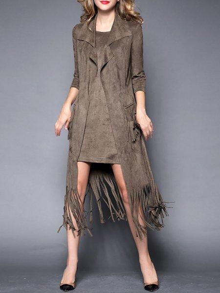 Khaki Plain 3/4 Sleeve Two Piece Mini Dress