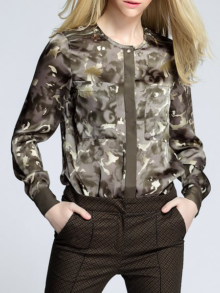 Multicolor Casual Crew Neck Printed Polyester Blouse