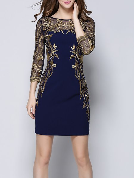 Blue Floral Casual Polyester Embroidered Mini Dress