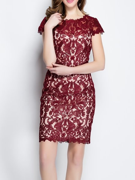 Burgundy Embroidered Crew Neck Polyester Short Sleeve Mini Dress