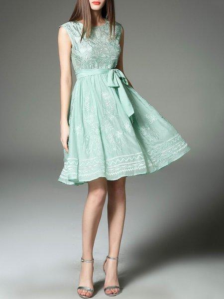 Green Casual Crew Neck Floral Midi Dress