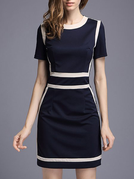 Dark Blue Color-block Sheath Casual Crew Neck Mini Dress