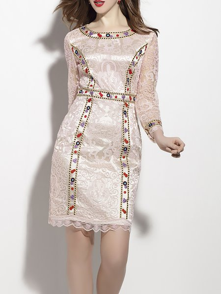 Pink Embroidered Polyester Long Sleeve Floral Mini Dress