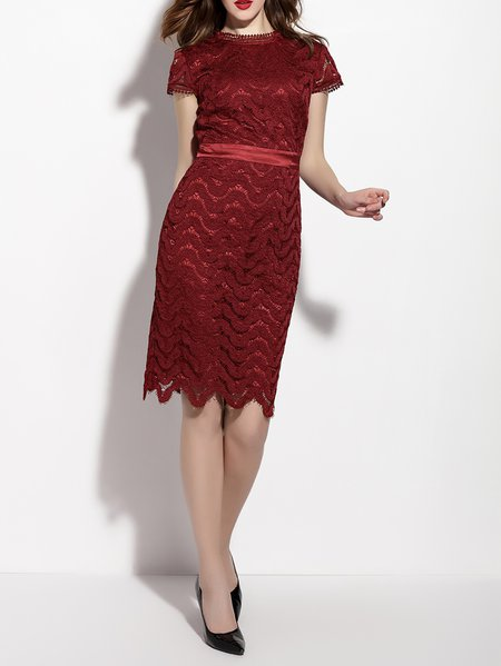 Stand Collar Cocktail Short Sleeve Floral Sheath Midi Dress