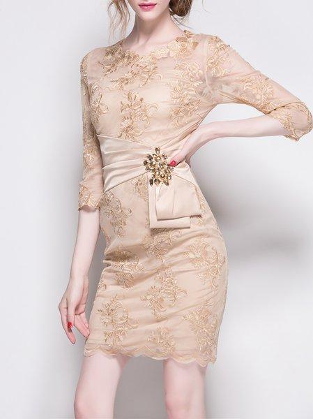 Apricot Half Sleeve Beaded Mini Dress