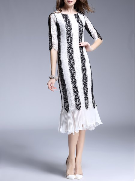 Cocktail Shift Half Sleeve Stripes Polyester Midi Dress
