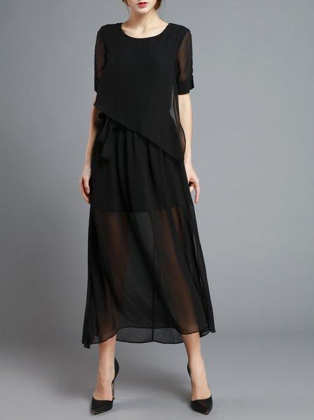 Half Sleeve Simple Plain Paneled Maxi Dress